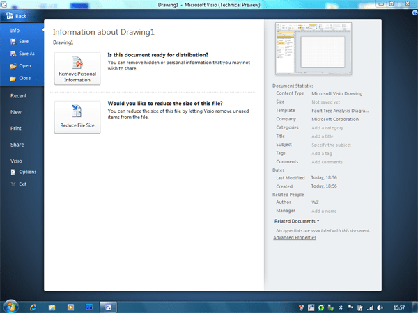 Microsoft Office 2010 Visio Technical Preview 1