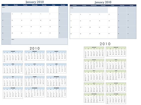 Download 2010 Calendar Templates For Microsoft Office 20072003