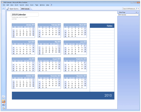 Download 2010 Calendar Templates for Microsoft Office 2007/2003