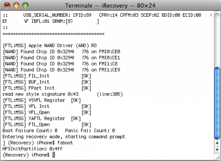 iRecovery Last Command fsboot