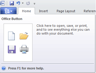 Microsoft Office 2010 Office Button