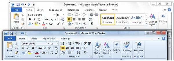 Home Tab Comparison Office Word Starter 2010