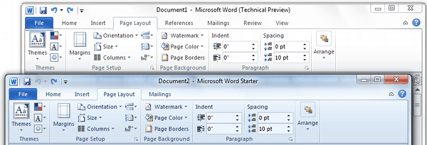 Page Layout Tab Comparison Office Word Starter 2010