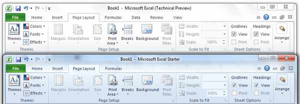 Page Layout tab Comparison Office Excel Starter 2010