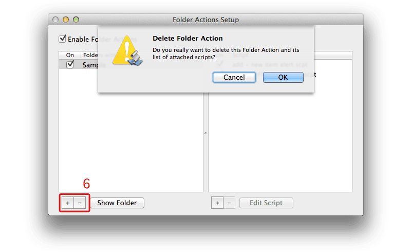 Folder Actions Setup - MAC