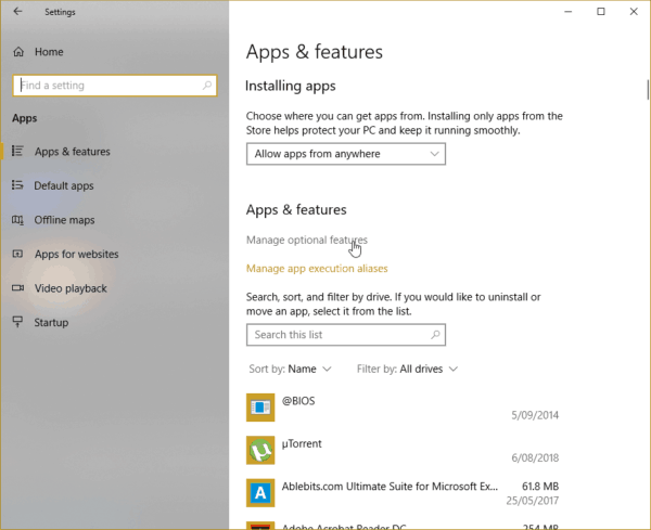 Windows 10 Apps & features Manage optional features