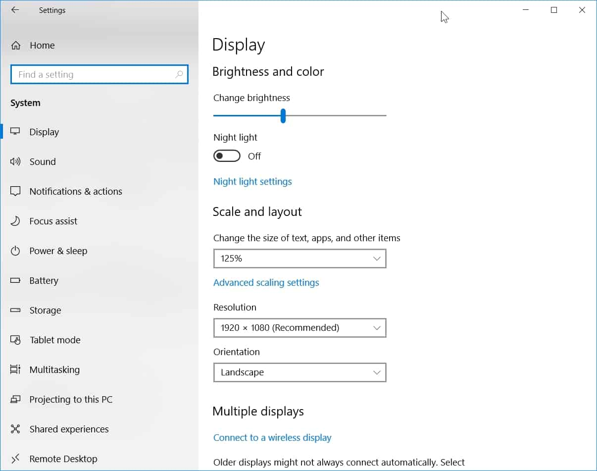 Change Resolution Windows 10