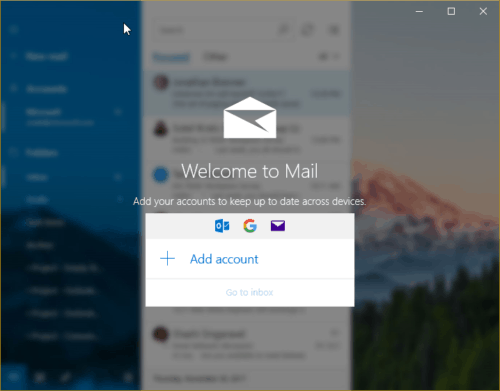 Welcome to Mail - Add Account
