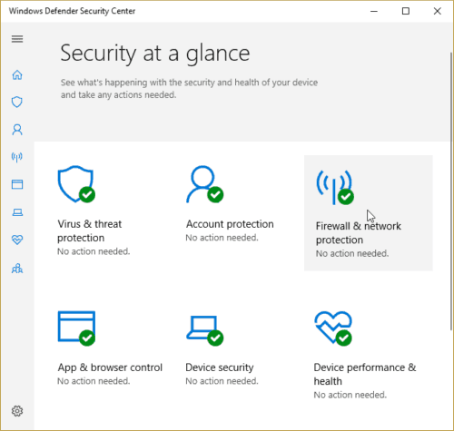 Windows Defender Security Center Security at a glance