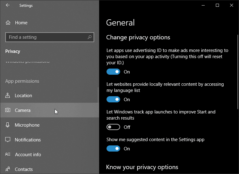 Camera-Settings-Windows Permissions