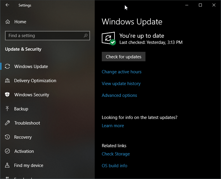 Check for Update Settings