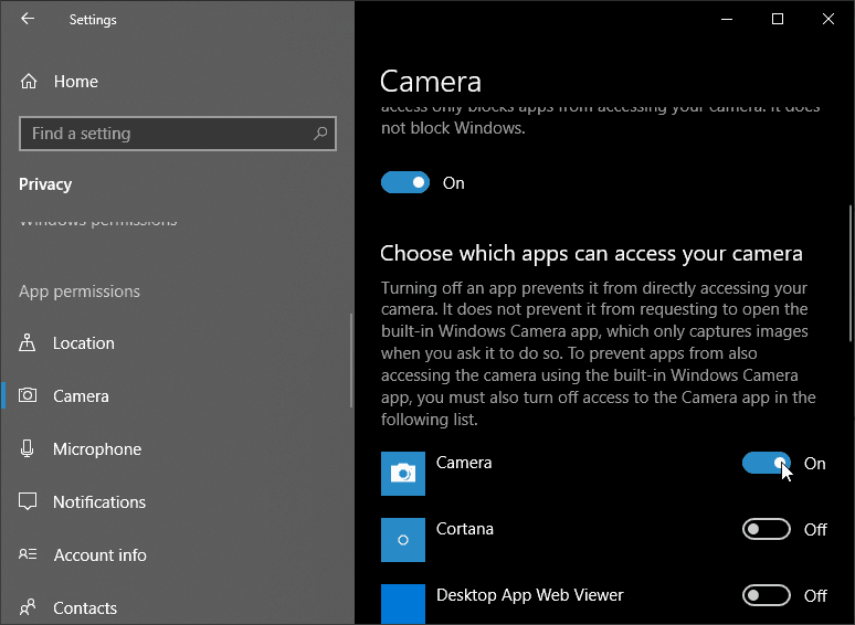 Choose which apps can access your camera-Settings
