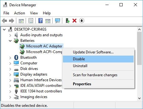 Disable-Uninstall batteries Device Manager