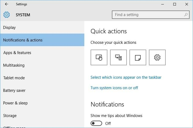 Notifications and Icons Windows 10