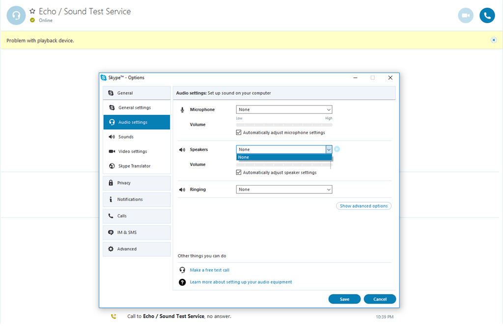 Problem with playback Device Error on Skype