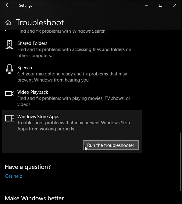 Windows App Troubleshoot-Settings