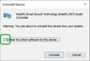 Uninstall Intel SST Device For Audio Issue
