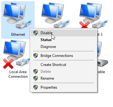 Disable Network Connections