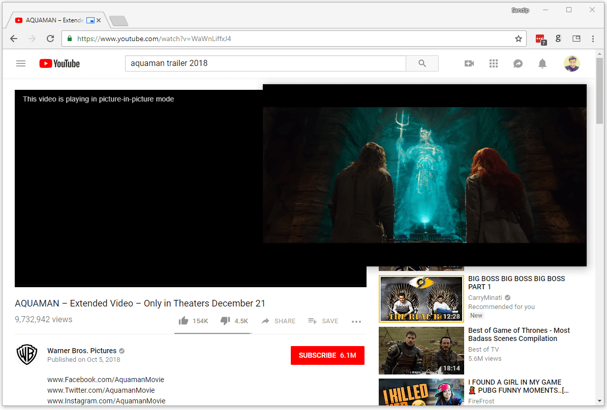 Video playing in picture-in-picture mode