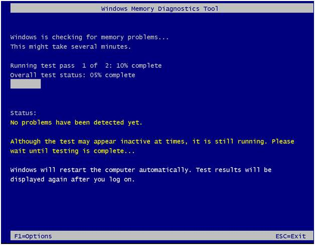 mdsched.exe Windows Memory DIagnostics Tool