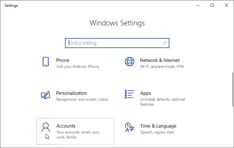 Accounts Windows Settings
