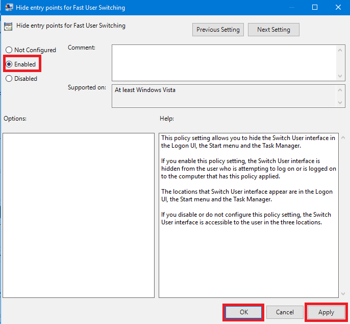 Hide Entry Point For Fast User Switching (Toggle)