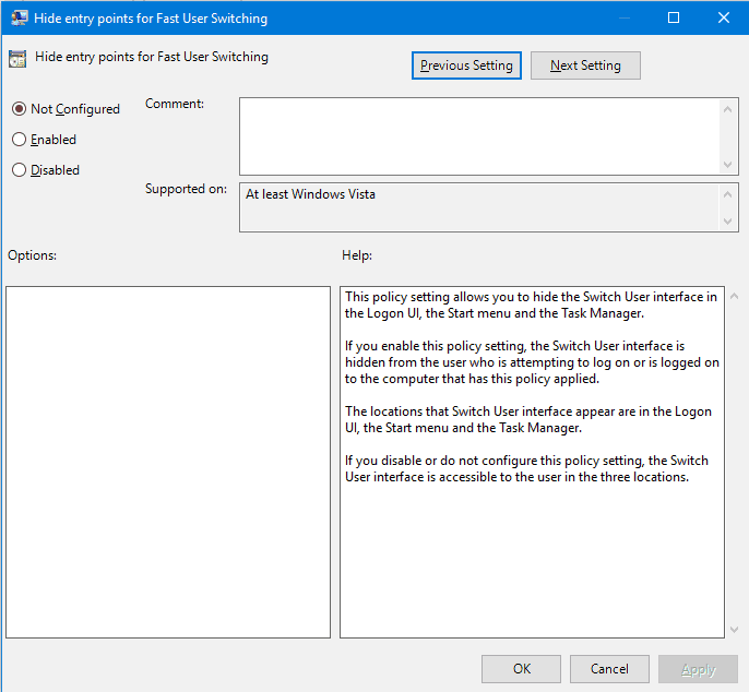Hide Entry Point For Fast User Switching (Window)