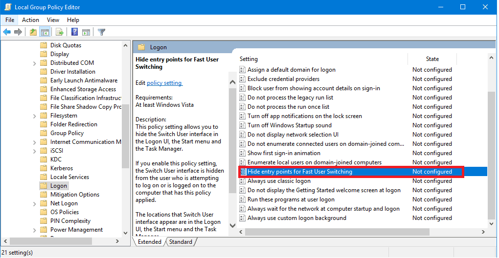 Hide Entry Point For Fast User Switching