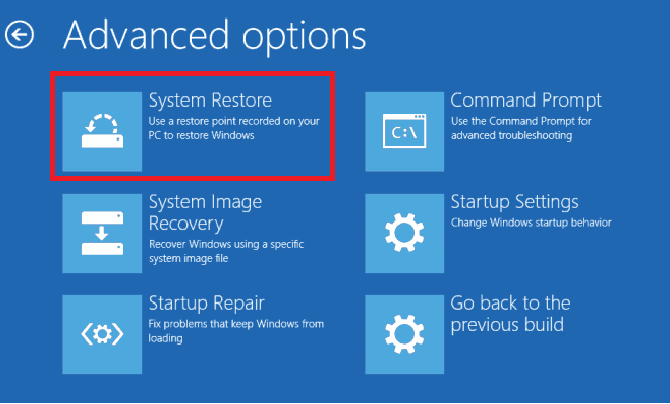 System restore option in WinRE