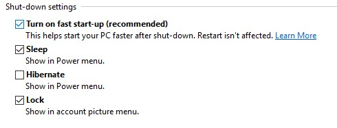 Turning on Fast Startup