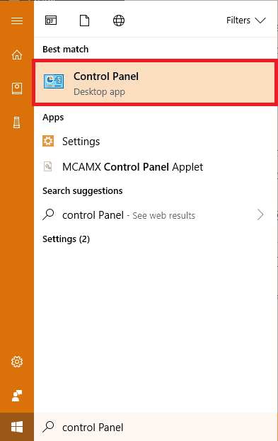 Control panel in windows search