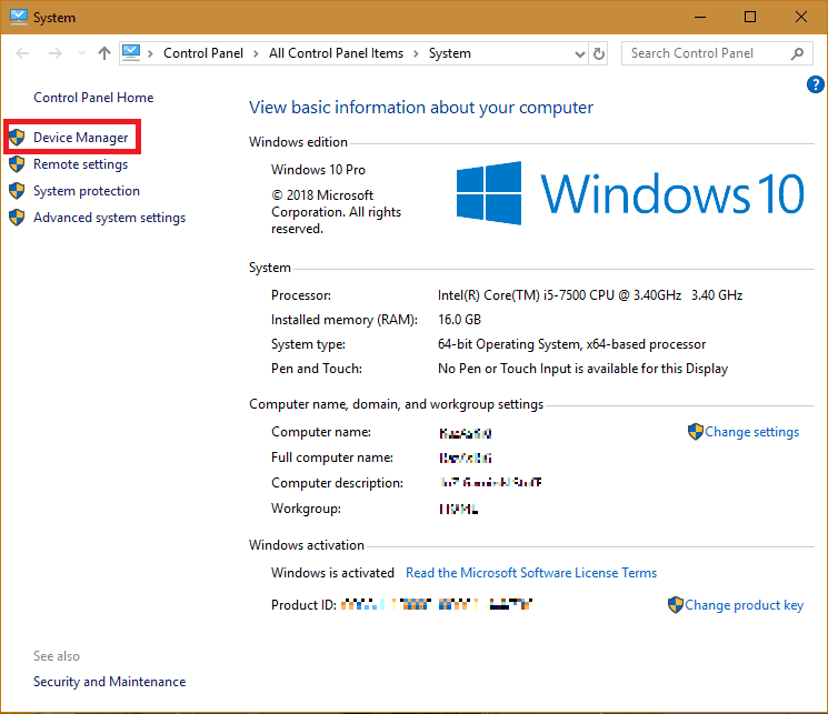 Device manager option in system properties.