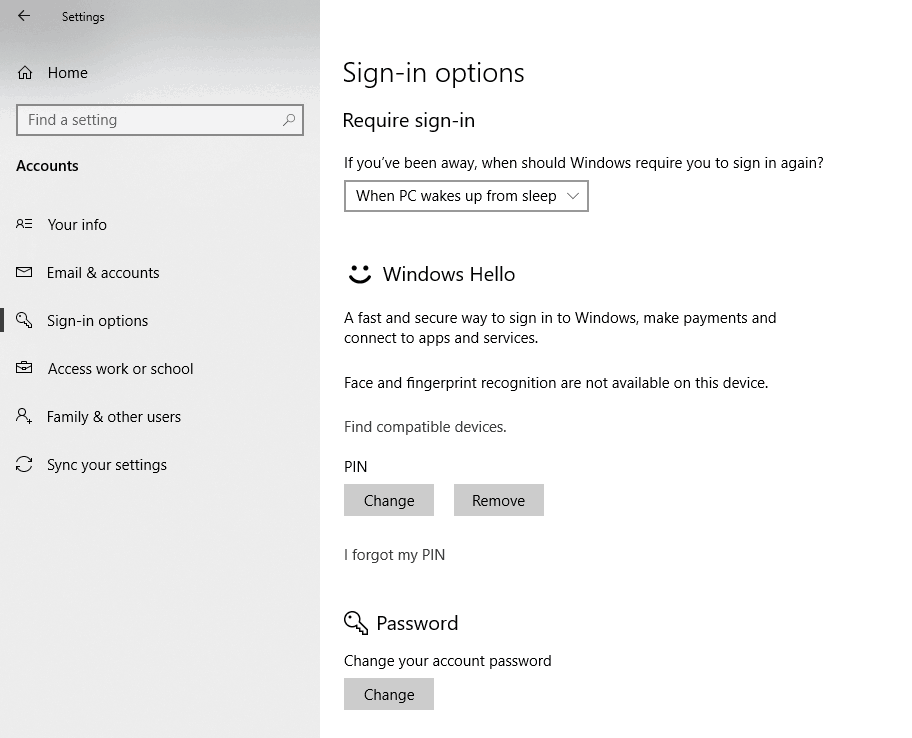 Windows 10 Sign-in Options