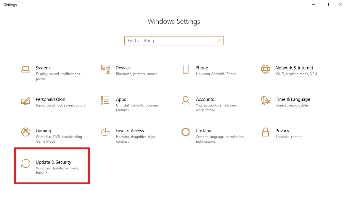 Update and security option in windows settings