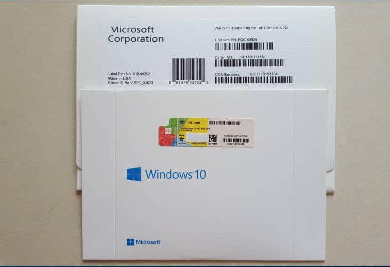 Windows 10 Retail Box with Product Key