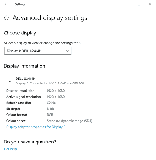 Windows 10 Advanced Display Settings