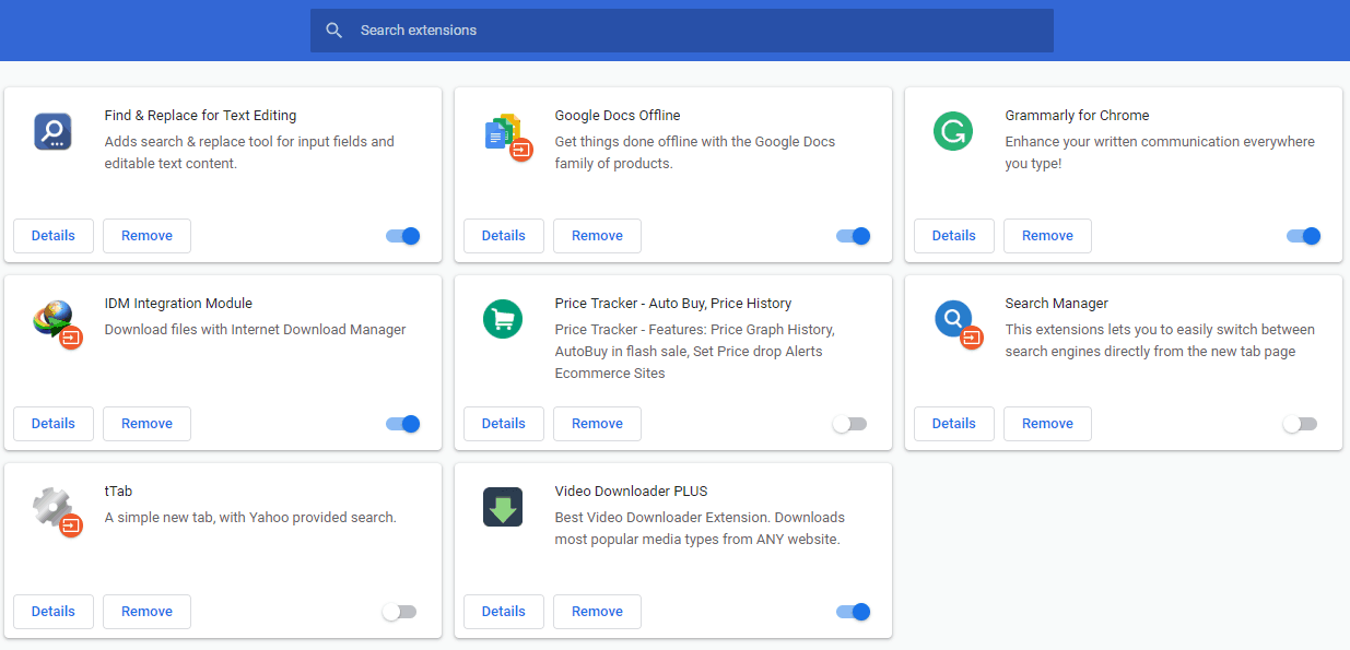 All extensions in chrome