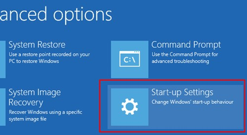 Click on startup setting