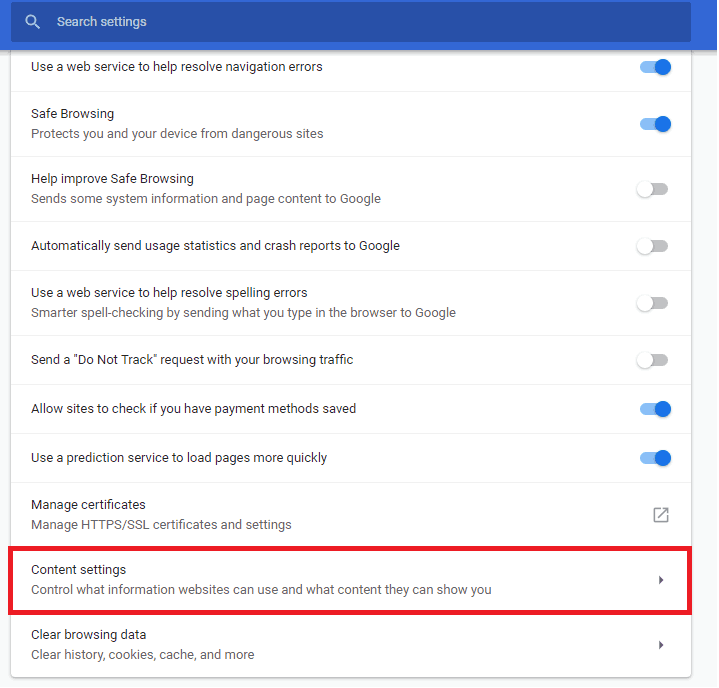 Content settings in Advanced settings