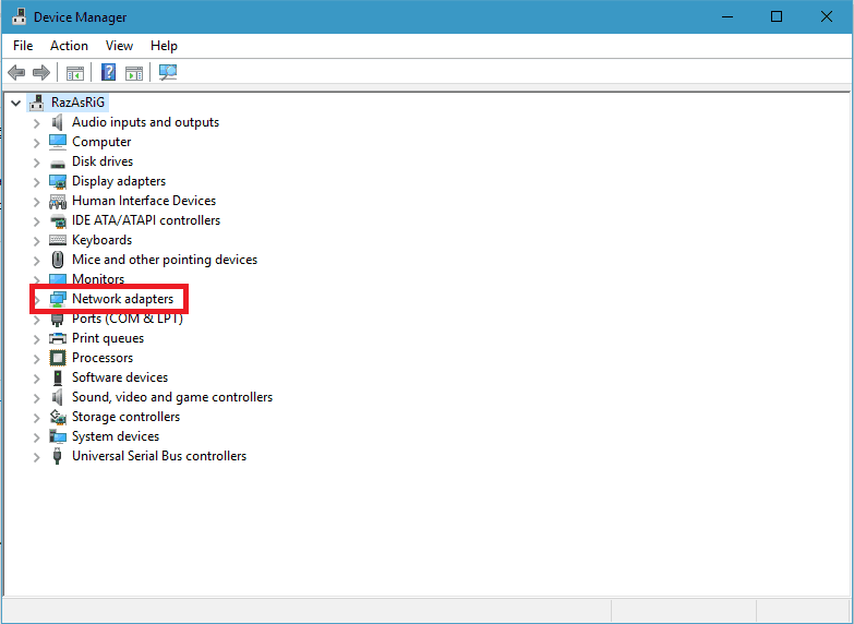 Network adapters option in device manager