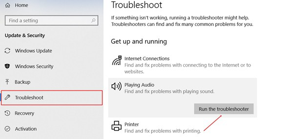 click on run troubleshooter