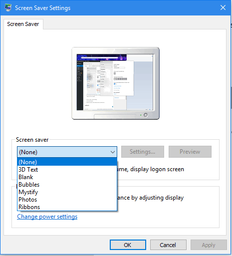Setting screen save to none