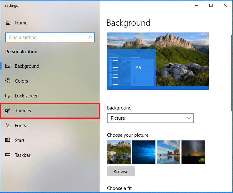Themes settings in Personalization