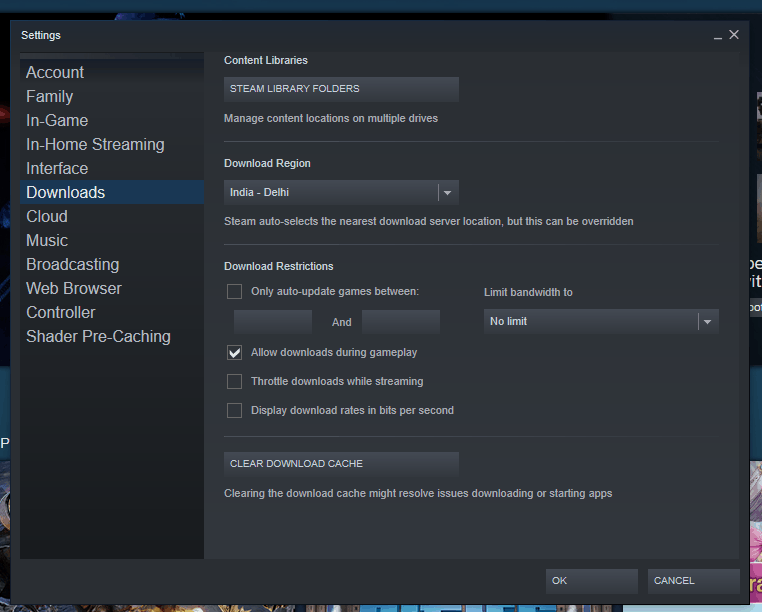 Steam Downloads Settings