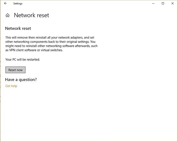 Network Reset Confirmation window