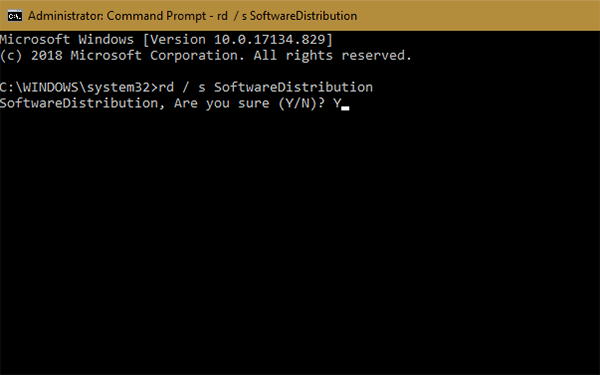 Softwaredistribution confirmation command