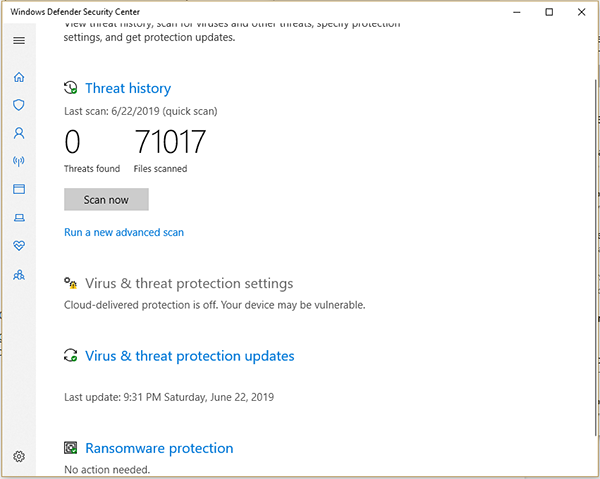 Virus and threat protection settings in Windows defender