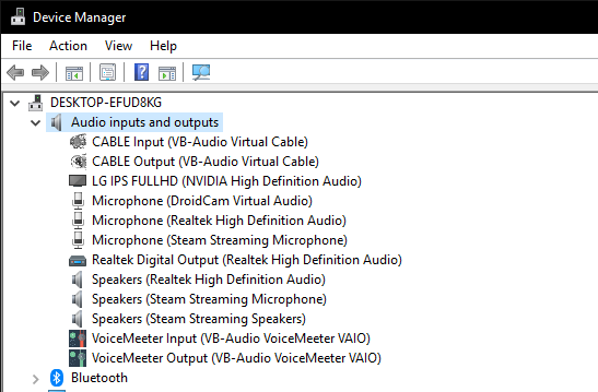 audio input and output devices