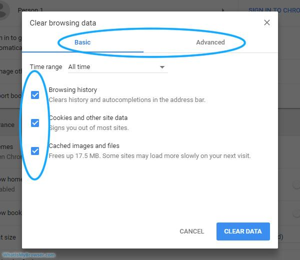 Clear Browser History, Cache and Cookies Data