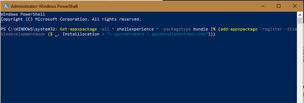 Windows PowerShell with the command